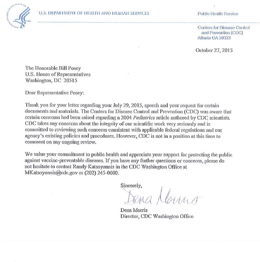 CDC Letter to Posey